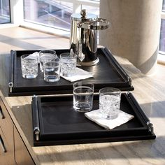 Global Views Wrapped Handle Black Leather Tray