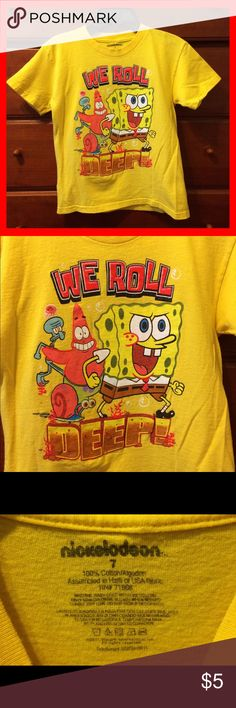 Boys Spongebob T Shirt Adorable graphic tee featuring Spongebob Squarepants. No stains rips or excess wear. Great item to bundle. Nickelodeon Shirts & Tops Tees - Short Sleeve