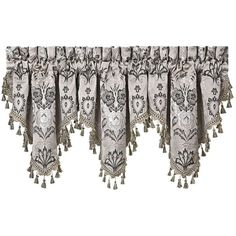 """J Queen New York Alessandra 40"""" x 21"""" Ascot Window Valance (2,770 PHP) ❤ liked on Polyvore featuring home, home decor, window treatments, curtains, valances, windows, smoke, window drapery, window coverings and fabric drapery"""