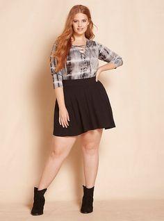 Plus Size Knit Skater Skirt, BLACK