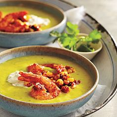 Summer Appetizers | Chilled Avocado Soup with Seared Chipotle Shrimp | CookingLight.com