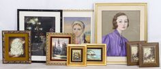 """Lot 539: Unknown Artists (20th Century) Painting Assortment; Three pastel on board paintings including a """"Spero"""" signed portrait of a female in purple, an illegibly signed portrait of a gypsy female and an """"Earth"""" signed portait of a clown; together with small oil on board landscape or still life paintings"""