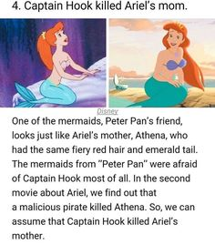 Disney conspiracy - 4 Captain Hook killed Ariel's mom Disney One of the mermaids, Peter Pan's friend, looks just like Ariel's mother, Athena, who had the same fiery red hair and emerald tail The mermaids from Peter Pan were afraid of Captain Hook most Disney Pixar, Disney Marvel, Disney Animation, Disney And Dreamworks, Disney Films, Disney Characters, Disney Villains, Disney Frozen, Disney Art