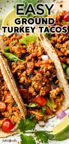 Ground Turkey Dinners, Ground Turkey Tacos, Healthy Ground Turkey, Ground Chicken Tacos, Ground Chicken Recipes, Ground Turkey Meat Recipes, Healthy Turkey Recipes, Mexican Food Recipes, Healthy Tacos