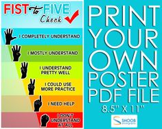 Fist to Five Poster 8.5 by 11 PDF via Etsy