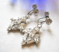 Vintage Earrings Rhinestone Hearts Clear Multi Shaped Stones Dangle Drop Chandelier Hollywood Regency Wedding Mid Century by FindCharlotte on Etsy