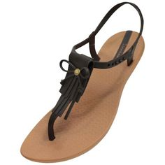 Ipanema Brown Brazilian Tassy Style Thong Flip Flop Sandals ($30) ❤ liked on Polyvore featuring shoes, sandals, flip flops, brown, flip flops women, footwear, tassel shoes, brown flip flops, brown shoes and adjustable strap sandals