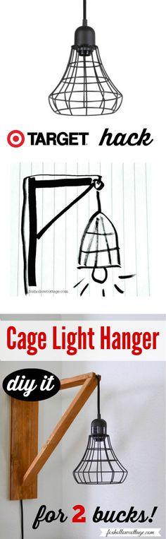 Target Hack: Industrial Pendant Cage Light Makeover, DIY Wood Wall Hanger Tutorial |