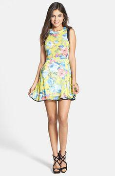 Paper Crane Contrast Panel Floral Skater Dress (Juniors) (Online Only) available at #Nordstrom