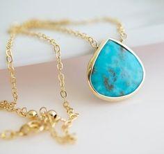 Turquoise Necklace  Bezel Set Turquoise Necklace