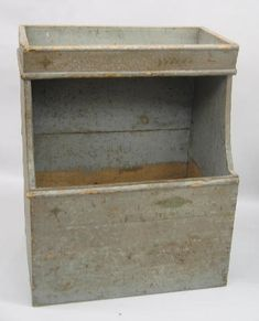 Early dry sink/sorting table and wood box combination in grey paint.  google.com