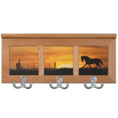 Horse in the sunset coat rack