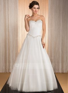 A-Line/Princess Sweetheart Floor-Length Satin Tulle Wedding Dress With Beading Appliques Lace Sequins (002031876)