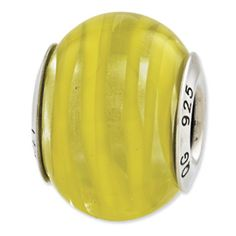 Reflection Beads Sterling Silver Clear, Yellow Italian Murano Glass Bead