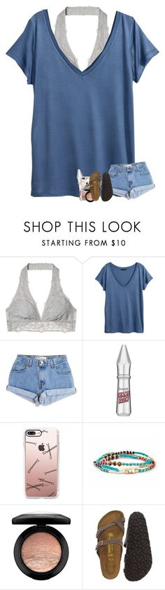 """""""summer blues contest"""" by madelinelurene ❤ liked on Polyvore featuring Victoria's Secret, H&M, Levi's, Benefit, Casetify, MAC Cosmetics and Birkenstock"""
