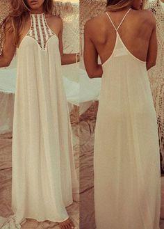 Pierced Solid White Chiffon Maxi Dress - USD $19.44