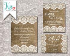 Printable Wedding Invitation Burlap and Lace Wedding Invitations - rustic chic country - DIY Printable on Etsy, $25.00
