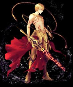 1boy abs armor armored_boots black_background blonde_hair boots commentary_request fate/grand_order fate/strange_fake fate_(series) gilgamesh highres male_focus muscle red_eyes shirtless solo sword tattoo weapon yuririensu