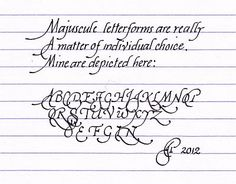 Chancery cursive writing -- letterform characteristics and construction