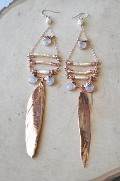 <<<ROSEWATER EARRINGS>>>  A Lux Divine original design  ~Freshwater Pearls, Moonstone & real Rose Gold dipped feathers ~Electroformed in Rose Gold ~One of a kind ~ Made from start to finish in Los Angeles, Ca  Electroforming is a specialized plating process on organic