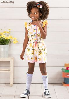 The Adventure Begins, Summer 2017: Let's Make Lemonade Romper with Tic-Tac-Bow Socks