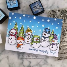 Sunny Studio Stamps: Feeling Frosty Customer Card by Tina Wilstrup Snowman Cards, Cute Snowman, Snowmen, Poinsettia Cards, Sunnies Studios, Embossed Cards, Winter Cards, Winter Theme, Scrapbook Cards