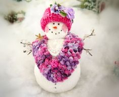 Artist Original Handcrafted Dolls, Cats, Hearts & More by CharlotteStyle Snowman Ornaments, Christmas Snowman, Handmade Christmas, Christmas Holidays, Christmas Ornaments, Holiday Tree, Holiday Decor, Purple Christmas, Make Happy