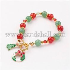 Christmas Theme Natural Gemstone Bead BraceletsBJEW-JB03125
