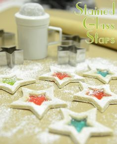 Powdered sugar stained glass stars! Make this a new holiday tradition. #baking