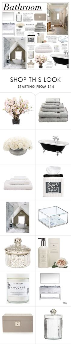 """""""Bathroom"""" by honey-beans-xo ❤ liked on Polyvore featuring interior, interiors, interior design, maison, home decor, interior decorating, Bloomingville, Lux-Art Silks, Superior et NDI"""