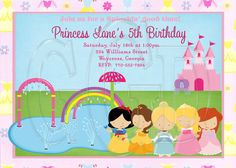 Princess Splash Pad Party Invitation-Digital File by graciegirldesigns77 on Etsy