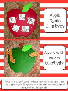 Fall Apple Cycle Craft, Apple with Worm Craft! Literacy, Science, and Math Activities!