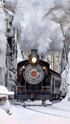 Would love to take a ride on this train through these snow-adorned woods.