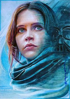 really proud of that one, Felicity Jones in 'Rogue One' adapted poster version for a sketch card, lots of work in this miniature 2.5x3.5 inch lots of blending n details watercolor pencil n marker, ...