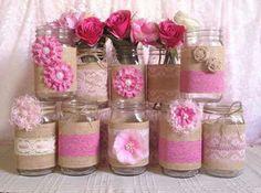 3 pink burlap and lace covered mason jar vases, wedding, bridal shower, baby shower Lace Mason Jars, Vintage Mason Jars, Mason Jar Crafts, Mason Jar Diy, Wedding Vases, Wedding Decorations, Wedding Blue, Trendy Wedding, Wedding Colors