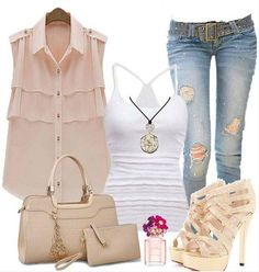 Love this Outfit! Love these Colors! Light Pink Buttons Double-deck Sheer Layered Sleeveless Dacron Blouse