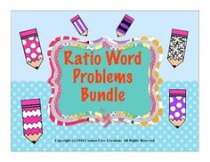 $This new product contains two separate products that are in my store. It contains Common Core Ratio Problems #1 and #2. They are separately are $1.20 each. This bundle is priced at $2 for both!! This product is a great way to assess the knowledge of your students for ratio word problems.