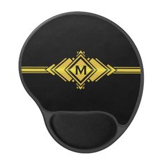 Gold & Black Art Deco Belt Monogram Gel Mouse Mat