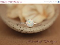 CYBER MONDAY SALE Delicate Opal Engagement Ring by moonkistdesigns
