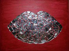 Artworks: Mirror Lips. Acrylic Paint, Broken Mirror.