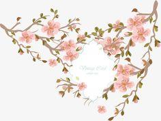 Decoração de Sakura., Vector De Material, Convite, Flores De Cerejeira.PNG e Vector
