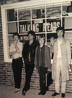 Talking Heads were formed in 1975 in New York City and active until 1991. David Byrne, Chris Frantz, Tina Weymouth, and Jerry Harrison.