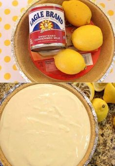 3 ingredients, so easy, so cheap to make......but, it tastes like a million dollars!! Can use strawberries and blueberries too!!  NO BAKE LEMON PIE  Ingredients: 1 Pie Crust 2 cups sweetened condensed milk 3/4 cup lemon juice  Directions: Pour two cups of sweetened condensed milk into a mixing bowl Add Lemon Juice and Stir Pour into the Pie Crust and refrigerate for a couple hours Whipped cream for garnish  ❥ Share to save on your timeline ❥ or Tag yourself to save it to your photo album…