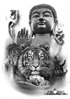 Magnífico diseño de tigre con Buda de fondo. Templos y símbolos alrededor totalmente personalizables. #santcugat #bcn #deysitattoostudio #deysitattoo #design www.deysitattoo.com citasdeysitattoo@gmail.com tlf: 639 327 919 #ideatattoo #ideastatuajes #tatto