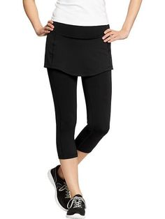 Old Navy Women's Active Skirted Compression CAPRI BLACK #95 #OldNavyWomensSkirtedCompressionCapri #PantsTightsLeggings