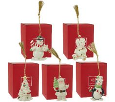 Lenox Set of 5 Porcelain Ornaments with Gift Boxes - H205246