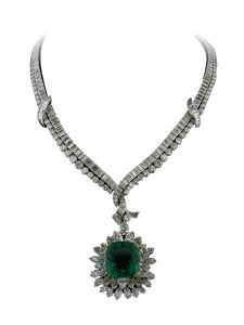 Collier Montega - Elie Chatila, or blanc, diamants, émeraude, NECK 350.005