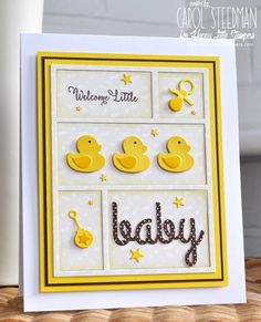 handmade baby card by Inky Fingers ... luv the die cut blocking with die cut ducks, BABY, and icons ... layers create a framed look that would be delightful in a real frame for the wall ...