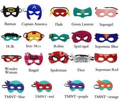 6 Superhero Mask Superhero Party Favors Superhero by partiesandfun