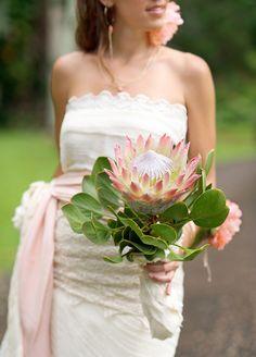 Maui Inspired Shoot from Jill La Fleur, Sara Donaldson + Teresa Sena Tropical Wedding Bouquets, Protea Wedding, Floral Wedding, Wedding Flowers, Boho Wedding, Perfect Wedding Dress, Dream Wedding Dresses, Designer Wedding Dresses, Bridal Dresses